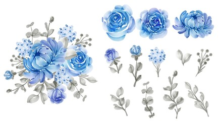 beautiful floral blue isolated leaf and flower