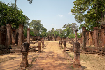 Banteay Srei Temple is an ancient temple in archaeological site in Cambodia. Wall mural