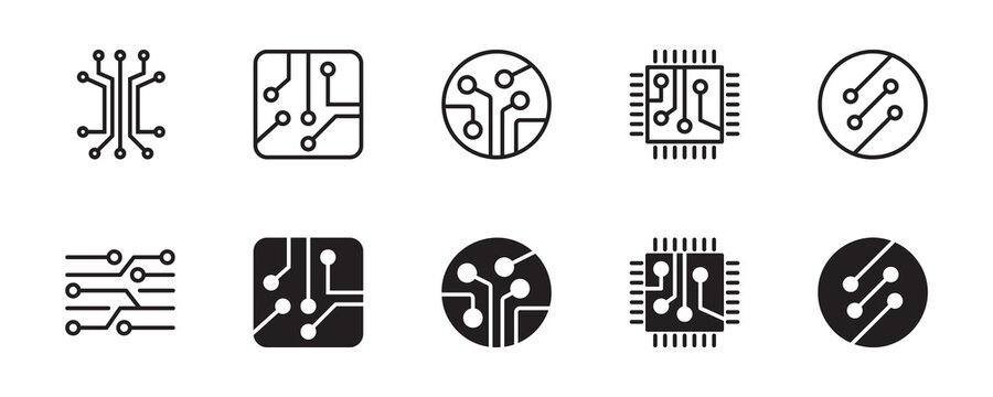 Circuit board icon set. Vector graphic illustration. Suitable for website design, logo, app, template, and ui.