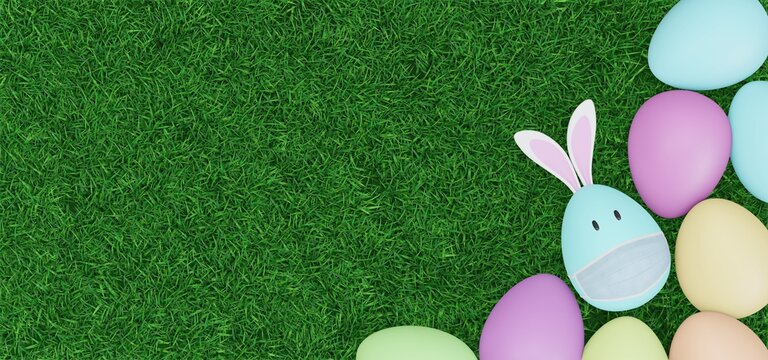 Easter eggs with rabbit ears are wearing masks. Image showing that the corona virus is affecting Easter. 3D rendering.