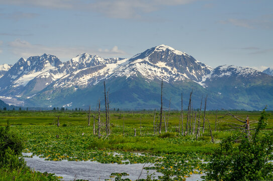 Alaska mountains in spring with pond