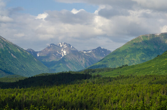 Alaska mountains with nice clouds