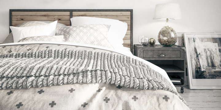 Cosy Bedroom Interior Conception - panoramic black and white 3D Visualization