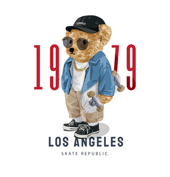 Los Angeles slogan with cute bear doll in sunglasses holding skateboard illustration