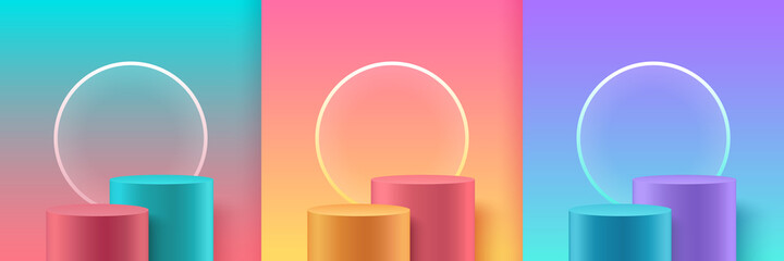 Fototapeta Set of modern trendy color cylinder podiums with circular neon, Pastel empty room background. Abstract vector rendering 3D shape for product display presentation. Minimal wall scene, Studio room. obraz