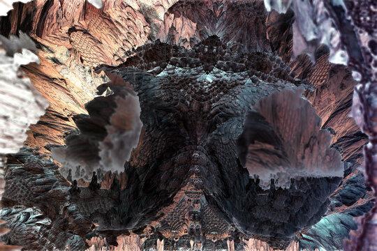 Pillar in an extraterrestrial rock cave. 3d fractal graphic, part of a huge fractal, calculated with Mandelbulb 3D program, JPEG Grafik
