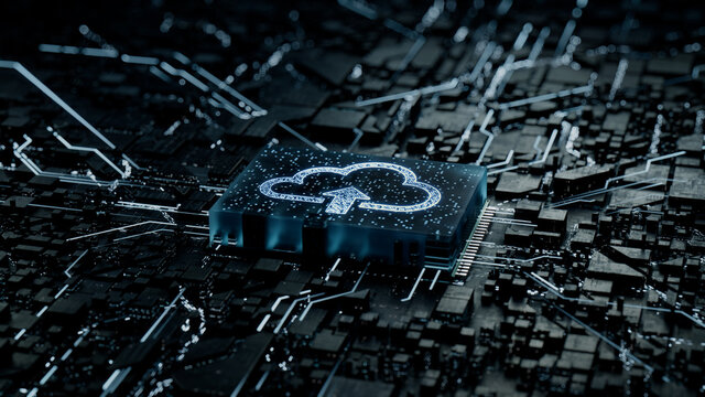 Data storage Technology Concept with cloud upload symbol on a Microchip. Data flows from the CPU across a Futuristic Motherboard. 3D render.