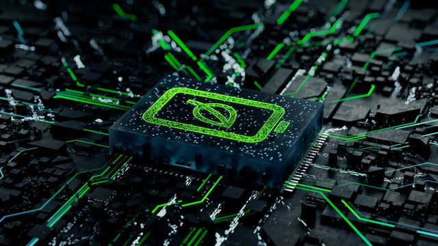 Environmental Energy Technology Concept with Eco battery symbol on a Microchip. Data flows from the Battery across a Futuristic Motherboard. 3D render.