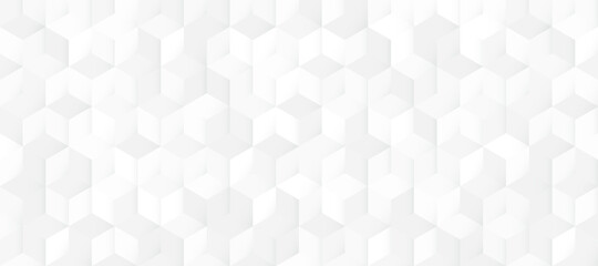 Abstract seamless white and grey square 3D pattern background. Modern geometric texture design. Vector illustration