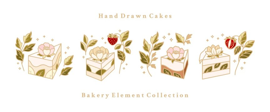 Hand drawn cake, pastry, bakery logo collection isolated on white background with peony flower, strawberry fruit, and natural leaf branch illustration elements