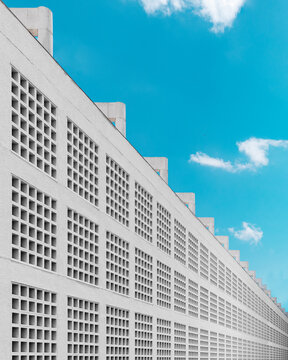 Side of Building with Grid Pattern