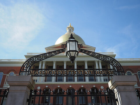 Daytime image of the Massachusetts State House.