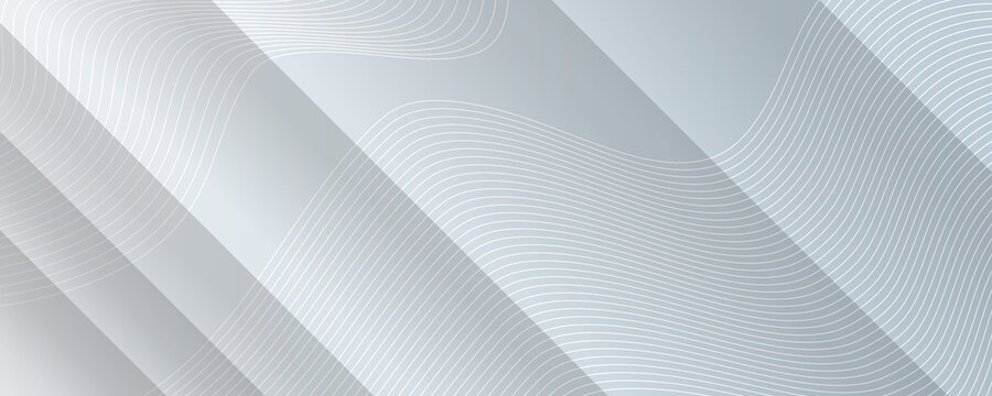 Abstract geometric white and gray color elegant background with stripes and white wave lines. Vector illustration