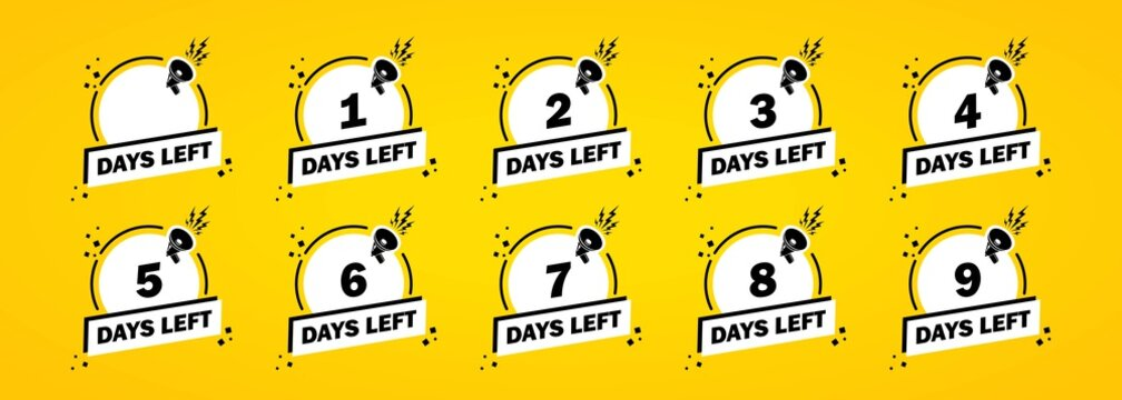 Days left icon set. Countdown left to go banner. Vector on isolated white background. EPS 10