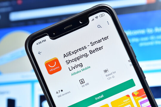 AliExpress application on smartphone, Chinese E-commerce application on smartphone