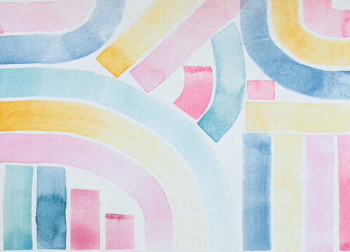 Artwork Watercolor Abstract Pastel Lines