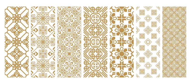 Set islamic oriental ornamental floral geometric arabesque seamless pattern. East motif pattern on white background vector illustration