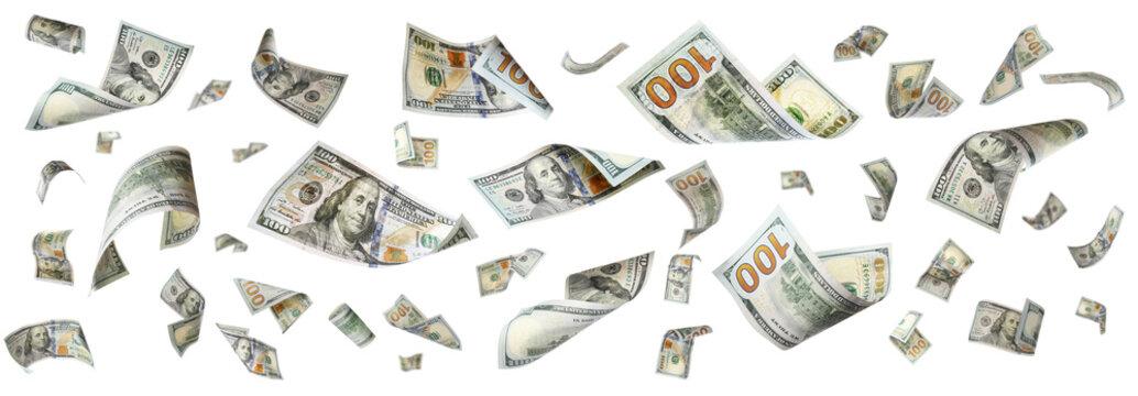 Dollar banknotes flying on white background, collage. Banner design