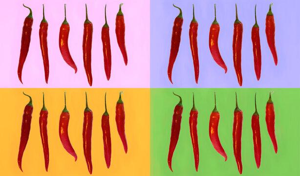 Mehrere Chili in einer Reihe auf bunten Hintergründen als Collage