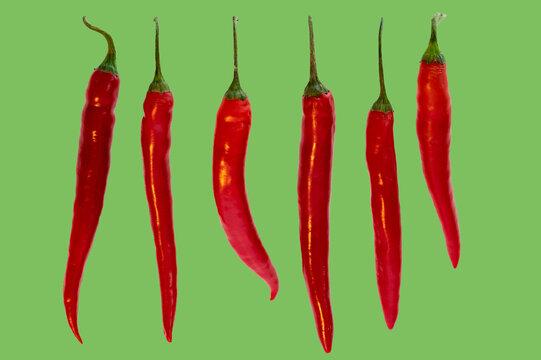 Mehrere Chili in einer Reihe auf grünem Hintergrund