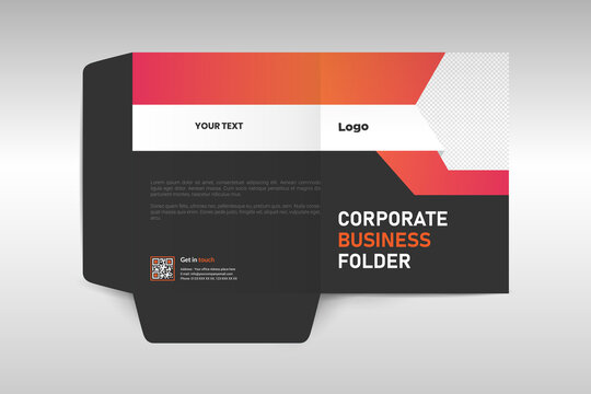 Business folder for files, design. The layout is for posting information about the company.
