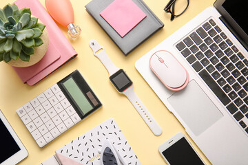 Obraz Composition with different modern devices on color background - fototapety do salonu