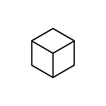 cube outline icon on white background, vector symbol