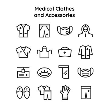 Collection of icons of medical uniforms clothing and accessories for nurses, doctors, laboratory assistants. Vector thin line flat illustration. Editable outline for web, UI, stories highlits