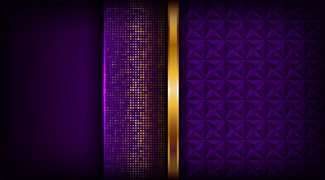 Luxury golden line background elegant purple shades in 3d abstract style. Luxurious gold illustration modern template deluxe overlap layer design
