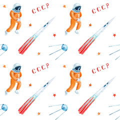 Fototapeta International Day of Human Space Flight. Watercolor seamless pattern. Soviet Cosmonautics obraz