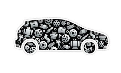 Fototapeta car mechanics with parts graphic obraz