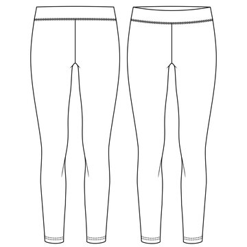 Girls Long Legging fashion flat sketch template. Women Active wear Regular length Stretch Legging Technical Fashion Illustration