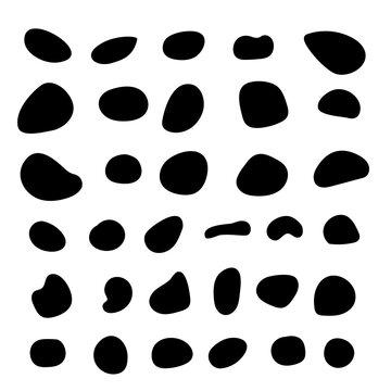 Random blob organic pattern spot shape. Amorphous ink blob geometric round pattern