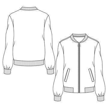 Women Bomber Jacket fashion flat sketch template. Technical Fashion Illustration. Welt Pockets