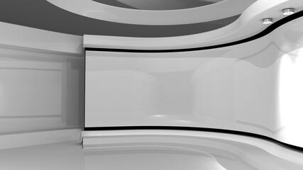 Obraz White Studio. White wall with light. White background. White back drop. 3d rendering - fototapety do salonu