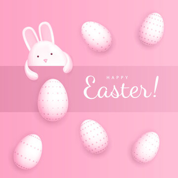 Happy Easter. Congratulatory banner. A cute rabbit in the shape of an egg peeks out from under the strip on a pink background with white Easter eggs in a speck
