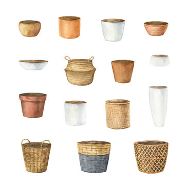 Watercolor vector set of ceramic pots of different shapes.
