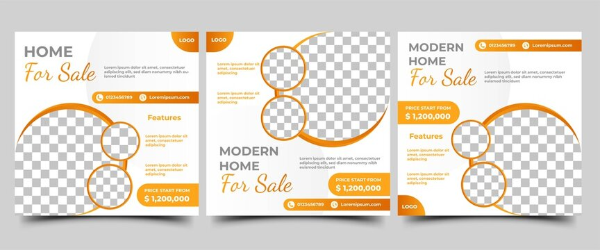 Set of Editable social media post template for real estate, home sale, or furniture sale. Vector design with a place for photo. Suitable for social media ads, flyers, sign, banners, and web ads.