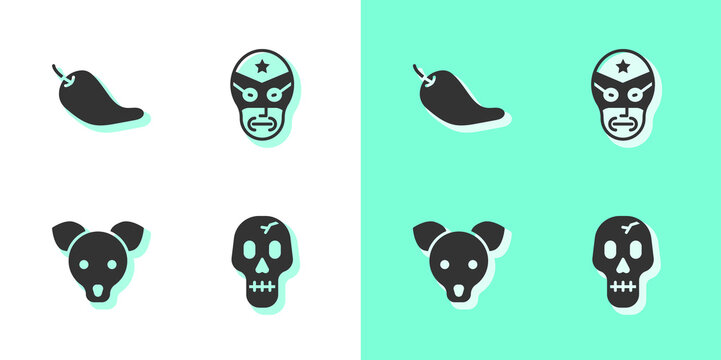 Set Skull, Hot chili pepper pod, Dog and Mexican wrestler icon. Vector.
