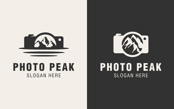 Camera and peak logo template suitable for outdoor companies