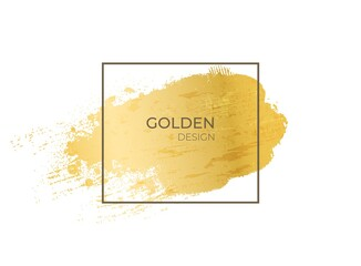 Golden frame. Realistic gold grunge texture in geometric shape. Contour square form on yellow metallic background. Isolated paint smear, decorative template with copy space. Vector blank framework
