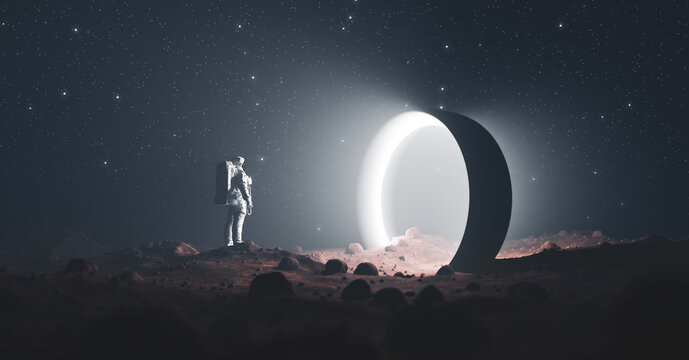 Astronaut on foreign planet in front of spacetime portal light