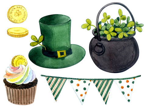 Watercolor elements. Clip art. St. Patrick's Day decor. Green hat, flags, cake, coin.