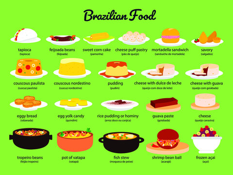 Set of typical foods and desserts from Brazil. Flat design. Vector.