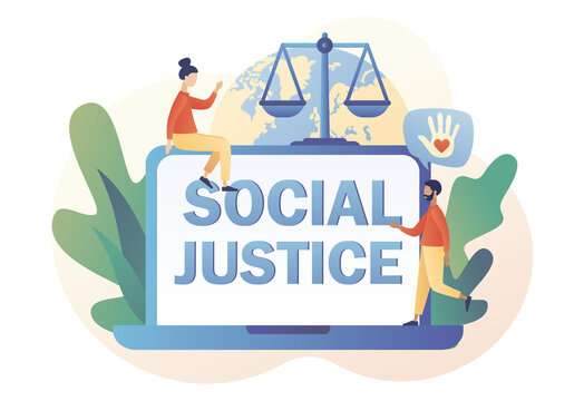 Social justice - text on laptop screen. Human rights concept. Tiny people for tolerance and respect. Scales as symbol of equality, freedom and love. Modern flat cartoon style. Vector illustration