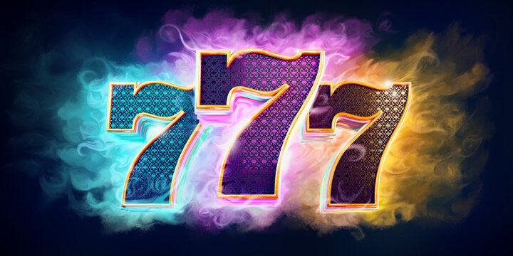 Casino background with bright colors with 3d numbers 777 on dark background...