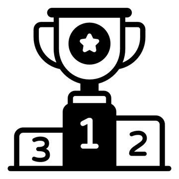 Trophy on podium, glyph icon denoting winners podium