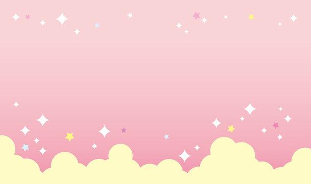 背景イメージ素材3_可愛い_背景_バック_ピンク_ゆめかわ_横長_広告_バナー_横_キラキラ cute fluffy pink back image 雲と背景分離可能