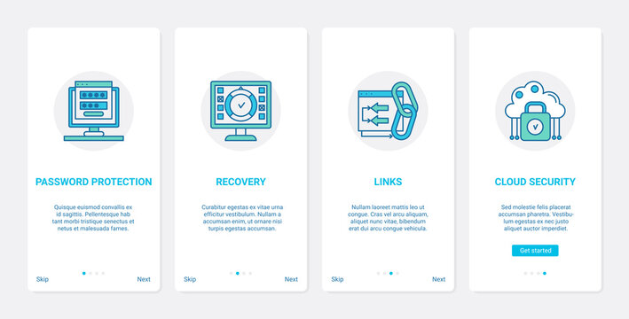 Network security modern technology vector illustration. UX, UI onboarding mobile app page screen set with line account password protection and recovery, cloud cybersecurity, safe networking symbols