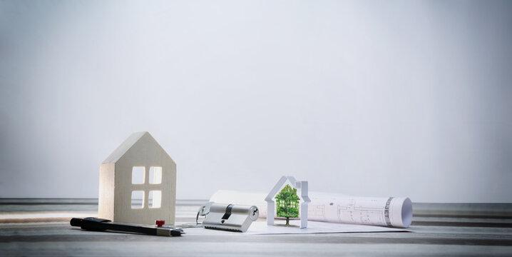 immobilier, écologie et environnement, arbre et plans d'architecte